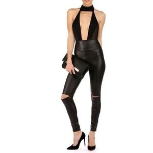 Faux Leather high waist leggings with knee splits